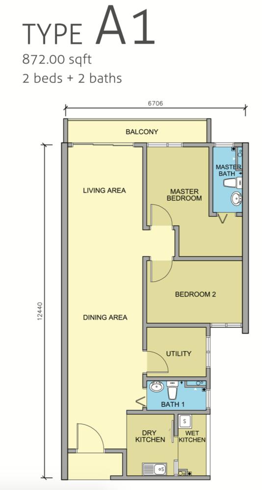 Maple Residences Type A1 Floor Plan