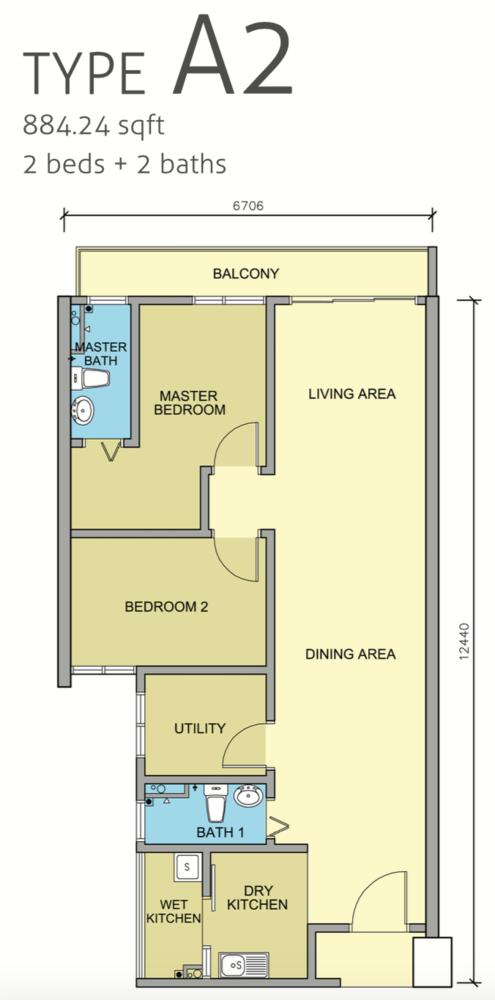Maple Residences Type A2 Floor Plan