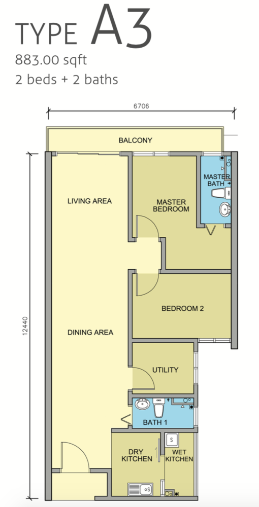 Maple Residences Type A3 Floor Plan