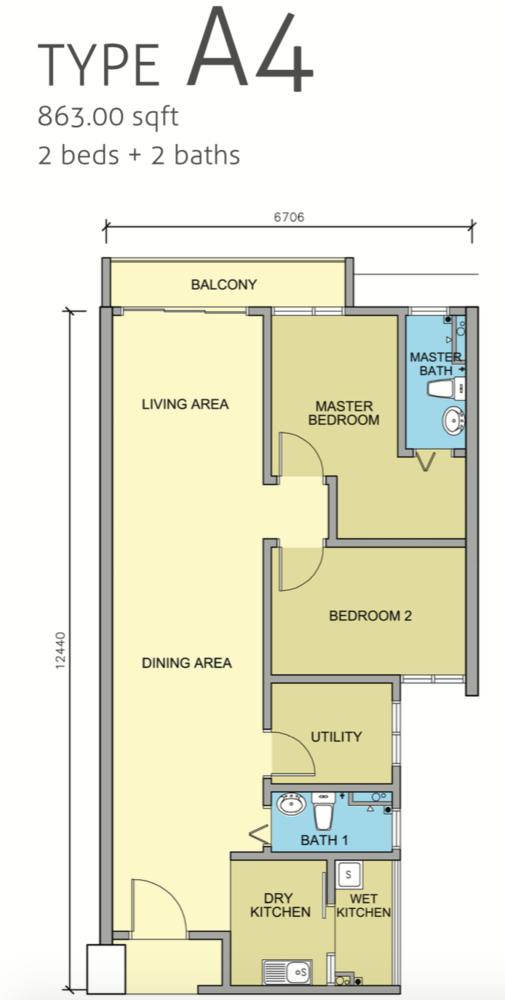 Maple Residences Type A4 Floor Plan