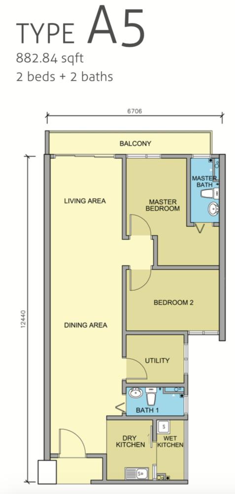 Maple Residences Type A5 Floor Plan