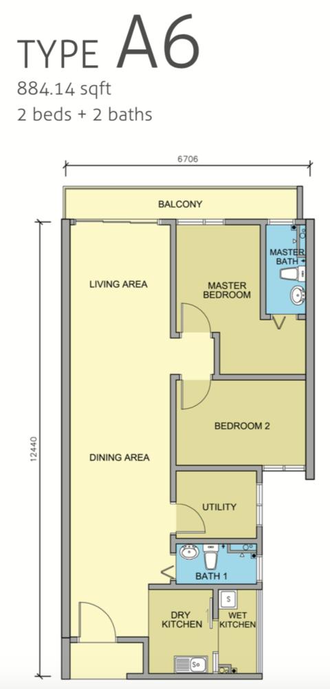 Maple Residences Type A6 Floor Plan