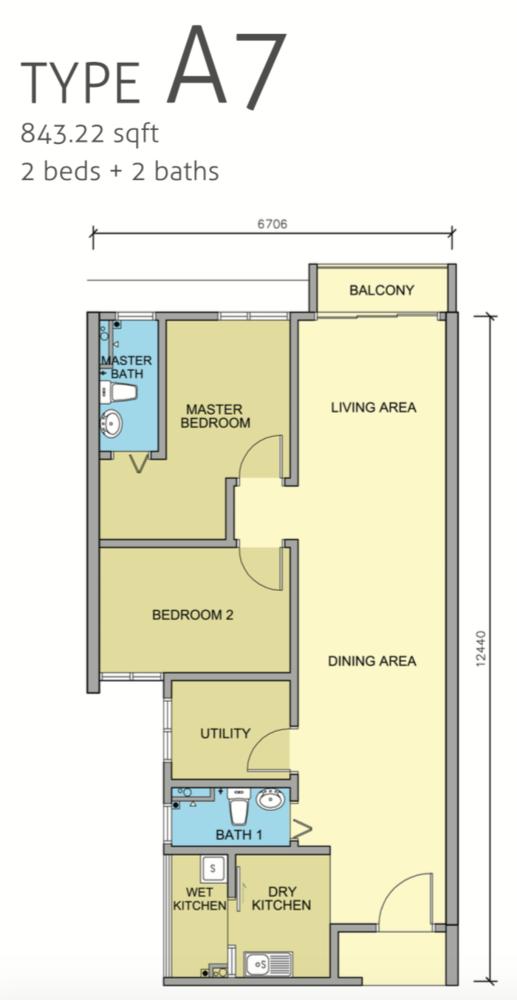 Maple Residences Type A7 Floor Plan