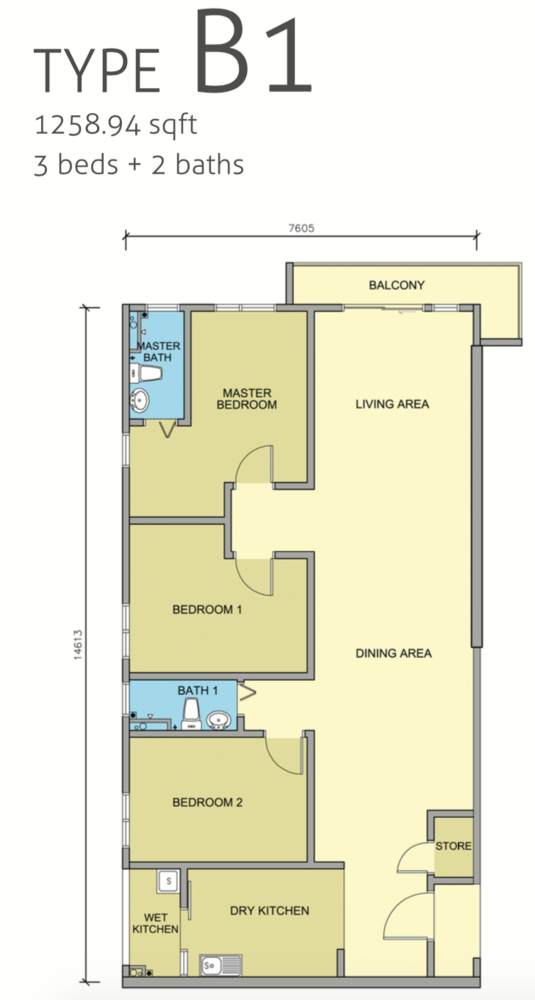 Maple Residences Type B1 Floor Plan
