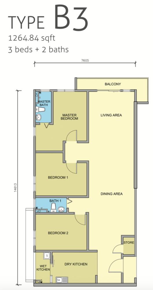 Maple Residences Type B3 Floor Plan