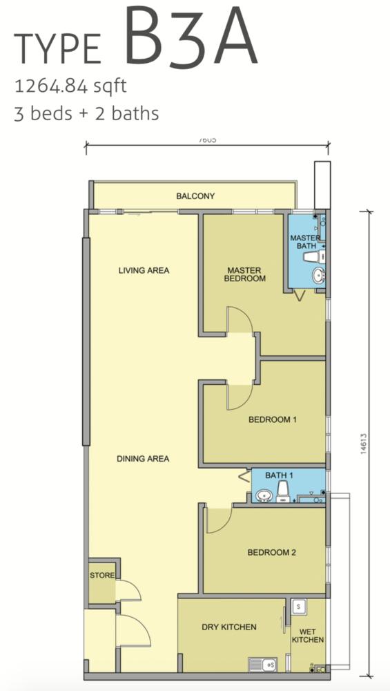 Maple Residences Type B3A Floor Plan