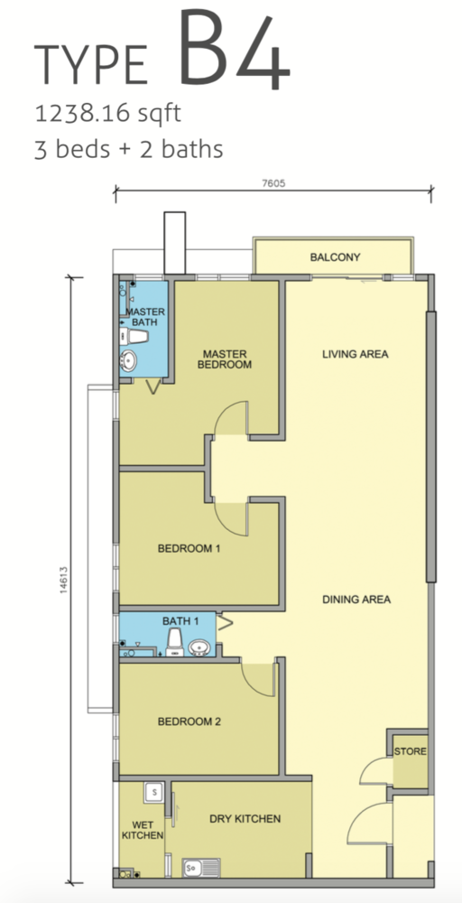 Maple Residences Type B4 Floor Plan