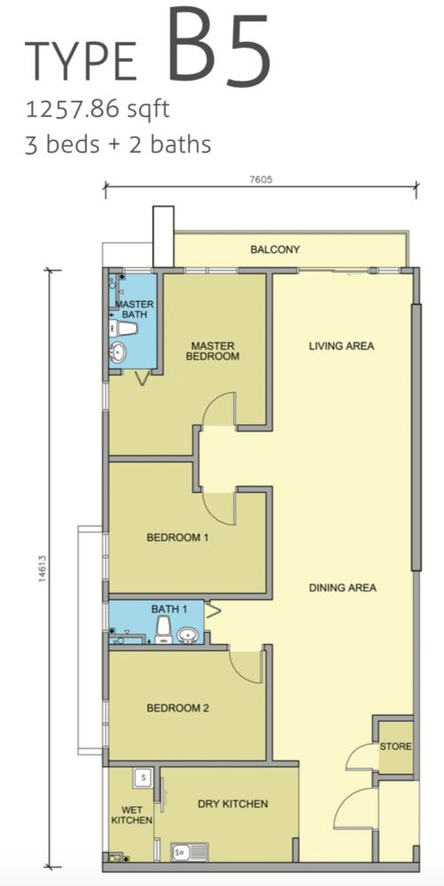 Maple Residences Type B5 Floor Plan