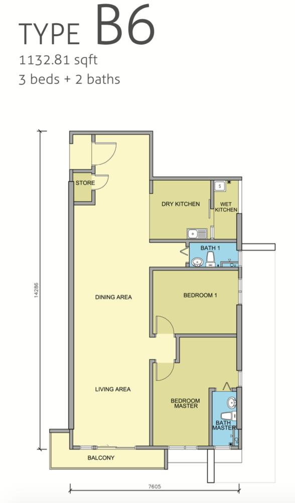 Maple Residences Type B6 Floor Plan