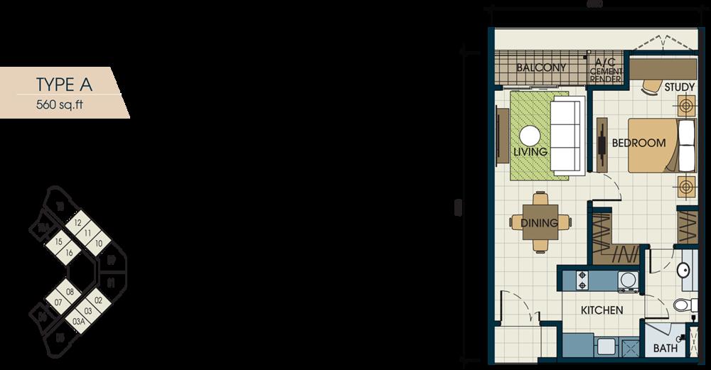 Glomac Centro V Type A Floor Plan