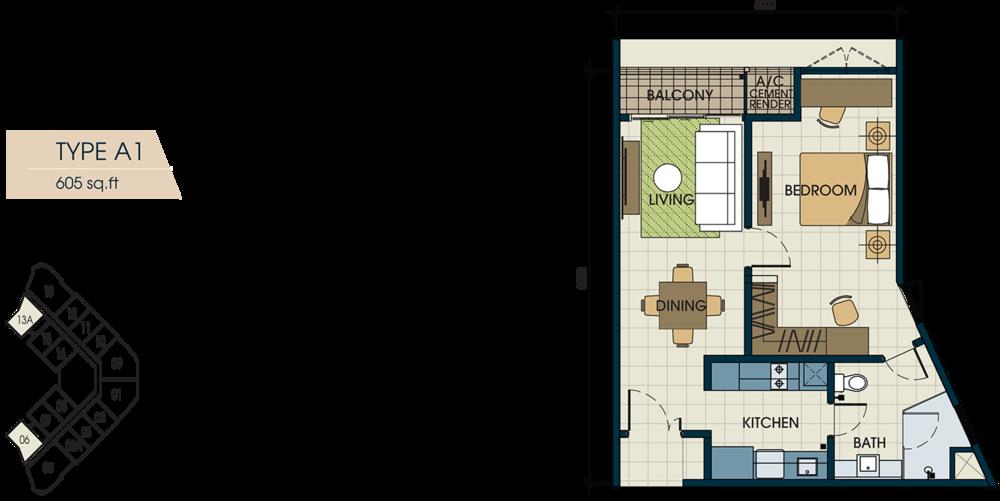 Glomac Centro V Type A1 Floor Plan