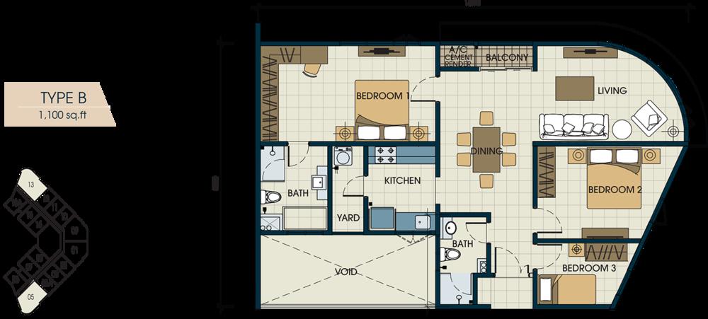 Glomac Centro V Type B Floor Plan