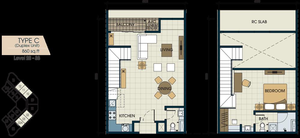 Glomac Centro V Type C Floor Plan
