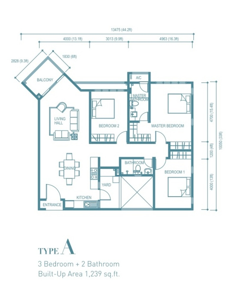Trinity Aquata Type A Floor Plan