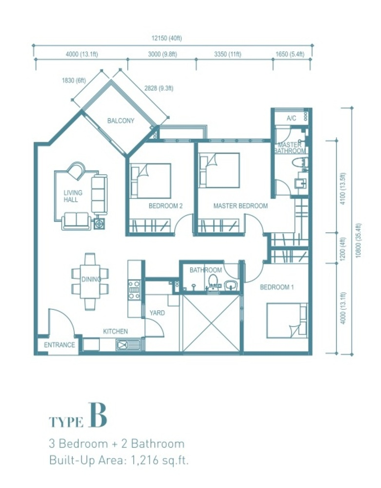 Trinity Aquata Type B Floor Plan
