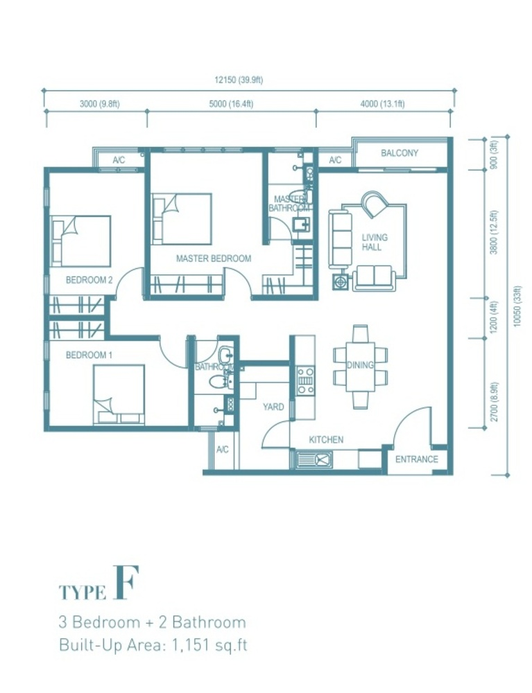 Trinity Aquata Type F Floor Plan