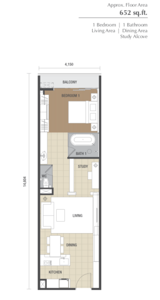 Dorsett Residences Type A Floor Plan