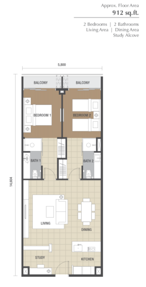 Dorsett Residences Type B Floor Plan