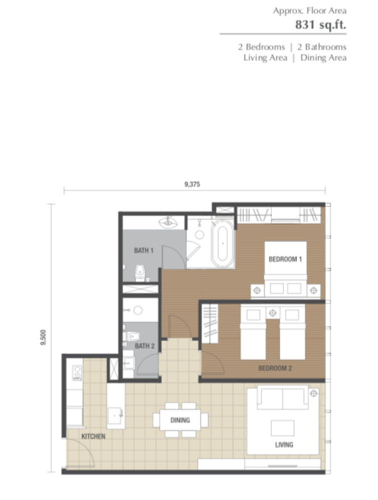 Dorsett Residences Type D Floor Plan