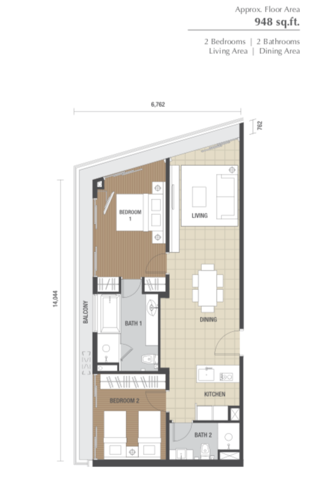 Dorsett Residences Type H Floor Plan