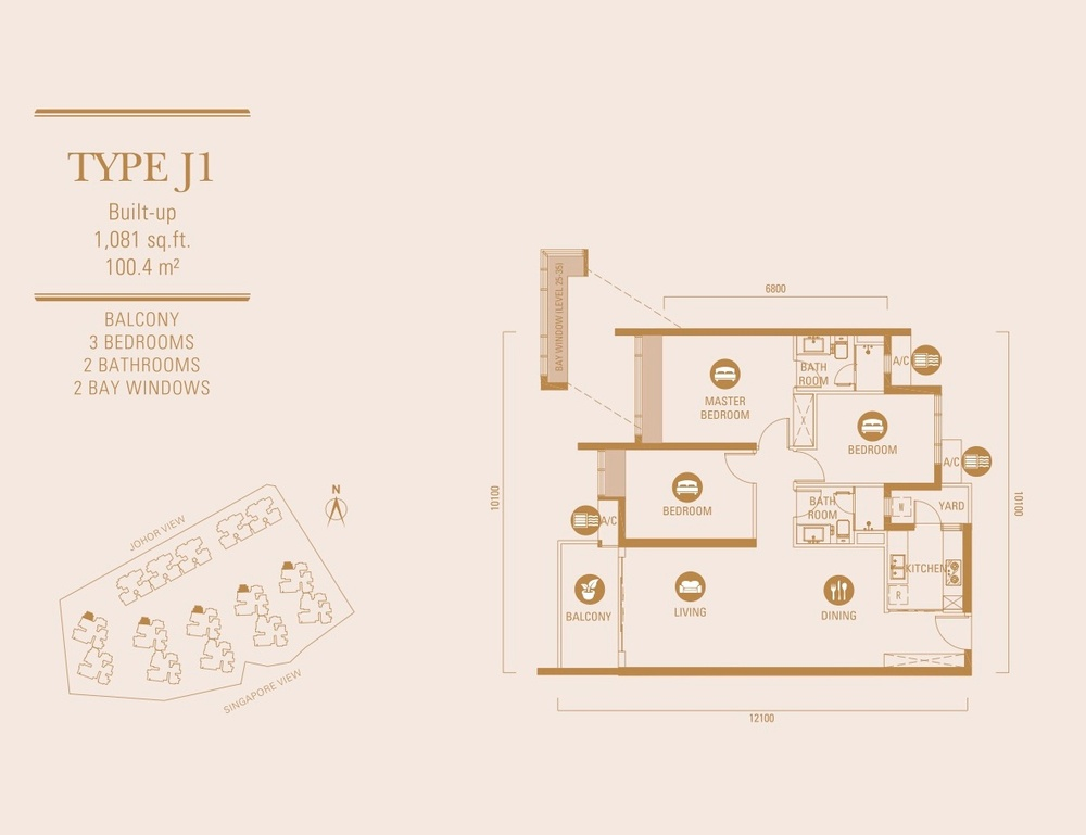 R&F Princess Cove Type J1 Floor Plan