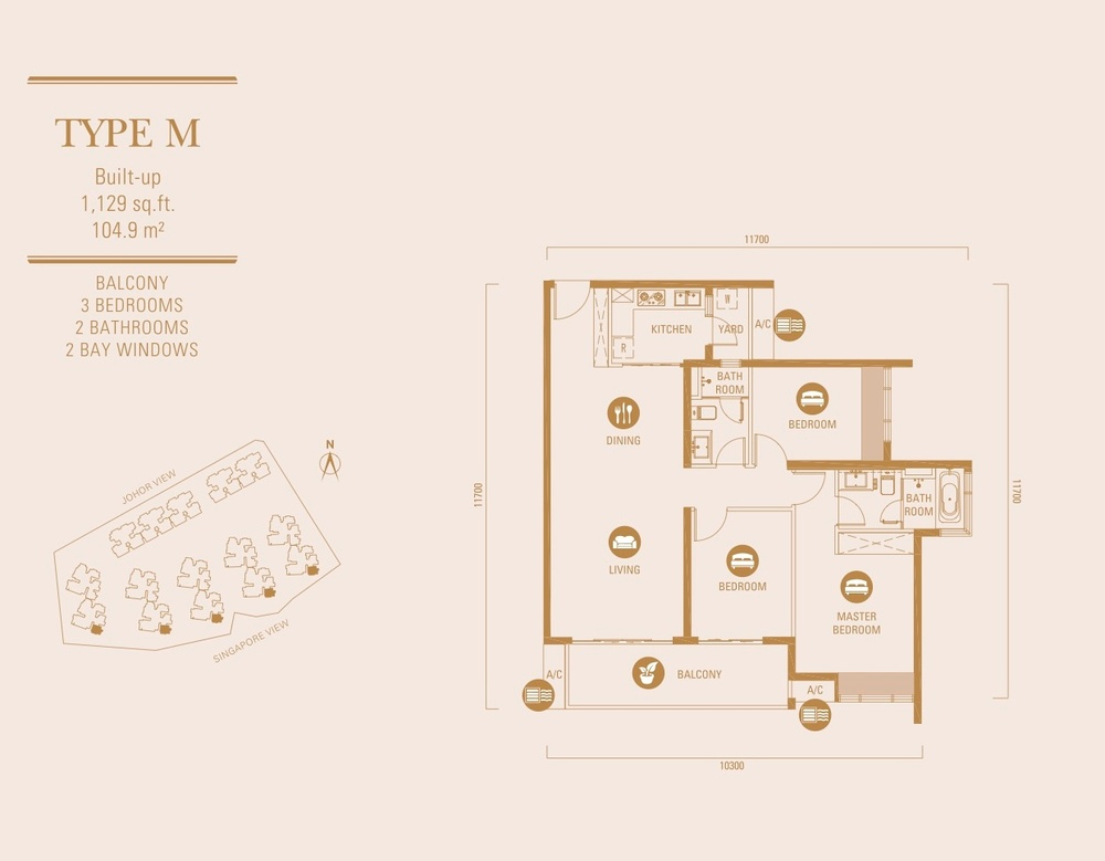 R&F Princess Cove Type M Floor Plan