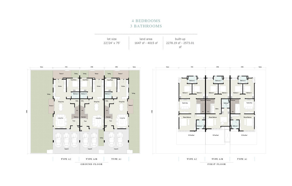 Arahsia Type A/A1/A2/B Floor Plan