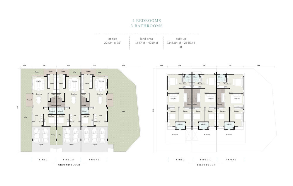 Arahsia Type C/C1/C2/D Floor Plan