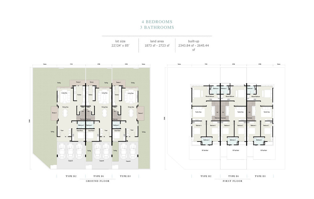 Arahsia Type D1/D2/D3 Floor Plan
