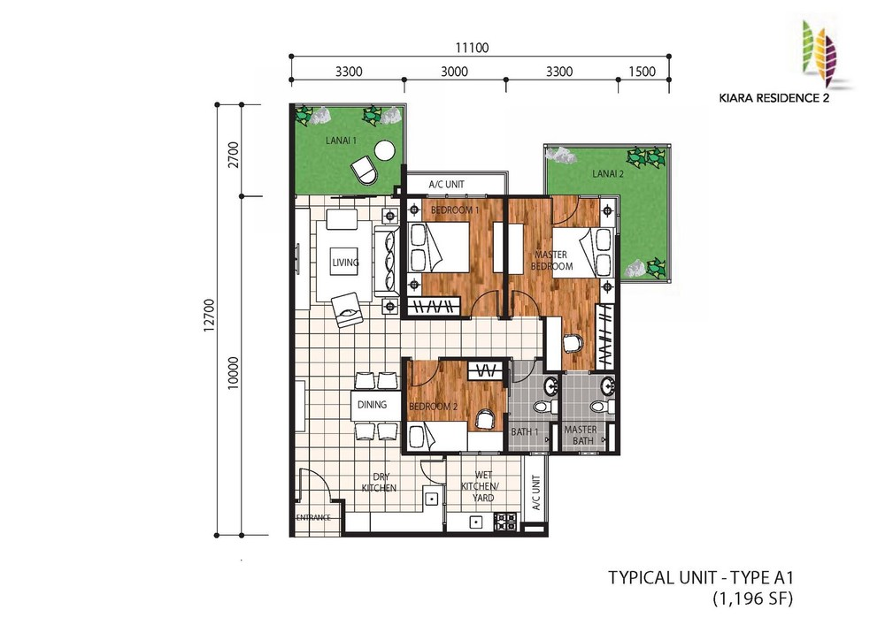 Kiara Residence 2 Type A1 Floor Plan