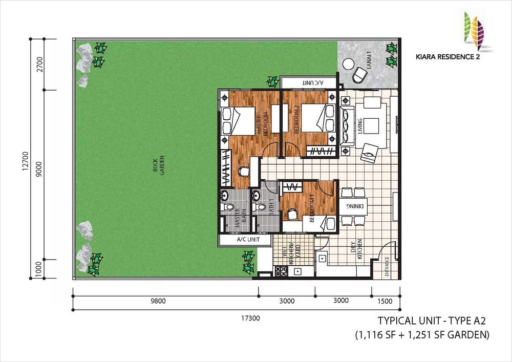 Kiara Residence 2 Type A2 Floor Plan
