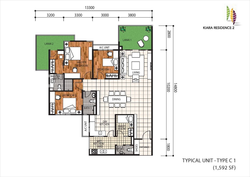 Kiara Residence 2 Type C1 Floor Plan