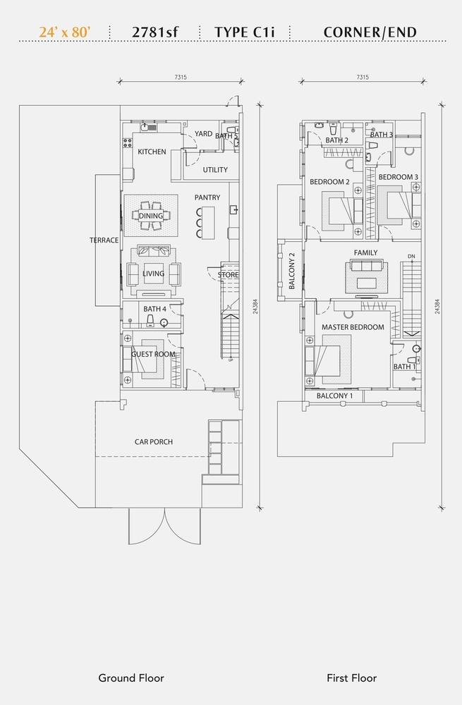 Perennia Type C1i (Corner / End) Floor Plan