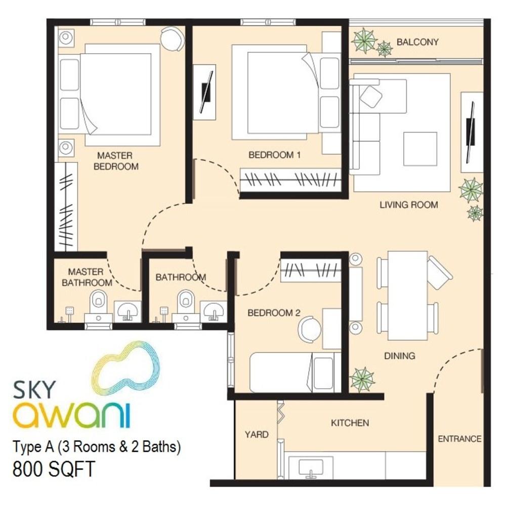 SkyAwani Type A Floor Plan