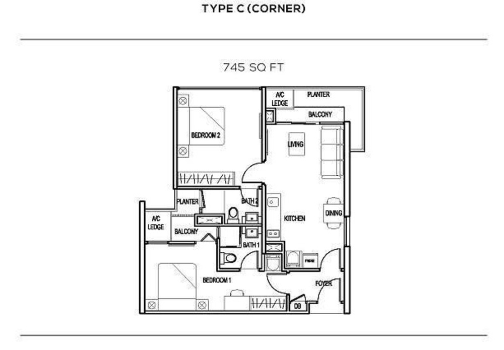 The Colony Type C (corner) Floor Plan