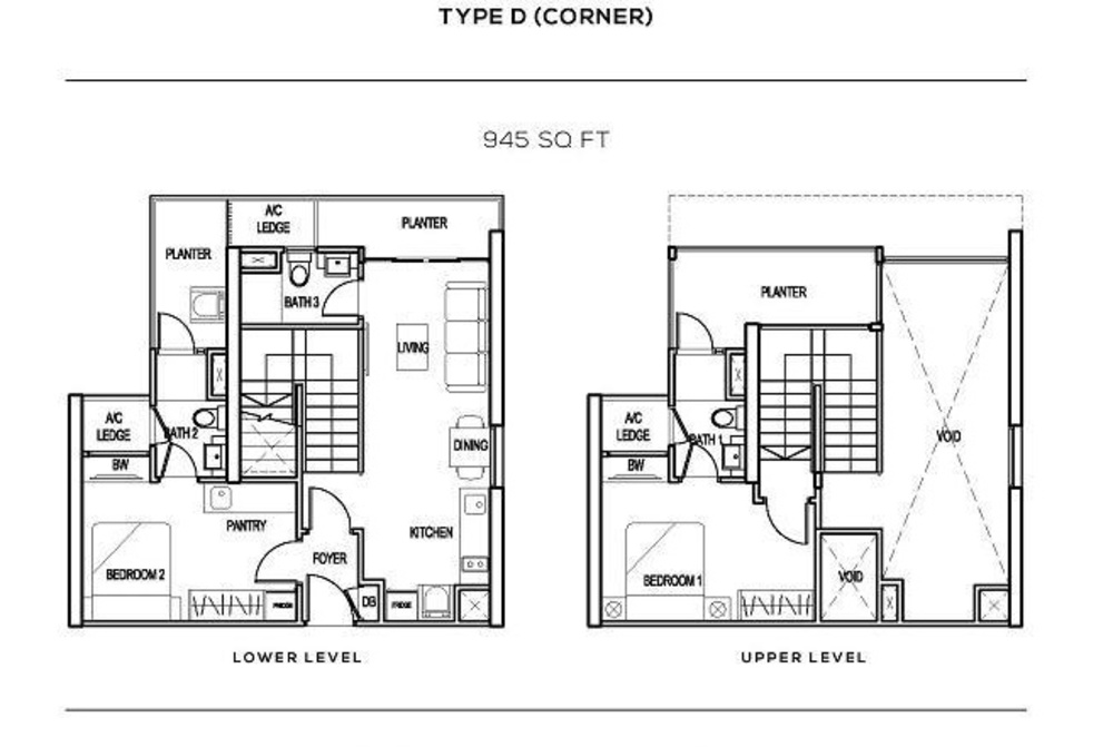 The Colony Type D (corner) Floor Plan