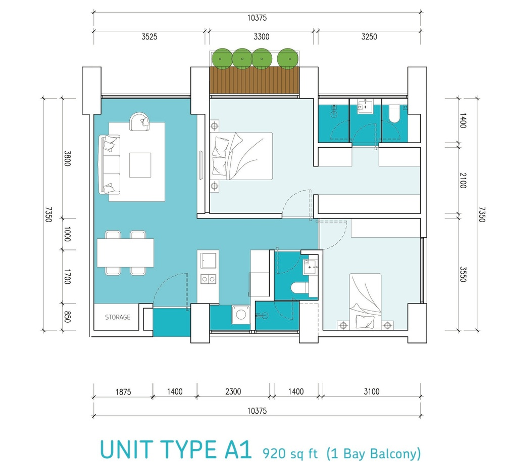 Lumi Tropicana Type A1 Floor Plan