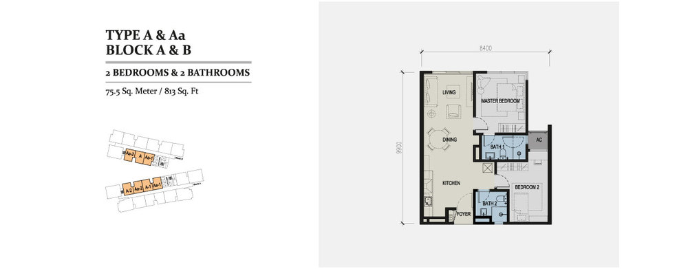 Skyz Jelutong Residences Type A & Aa Floor Plan