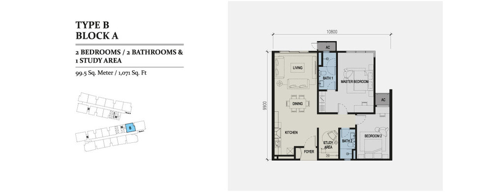 Skyz Jelutong Residences Type B Floor Plan