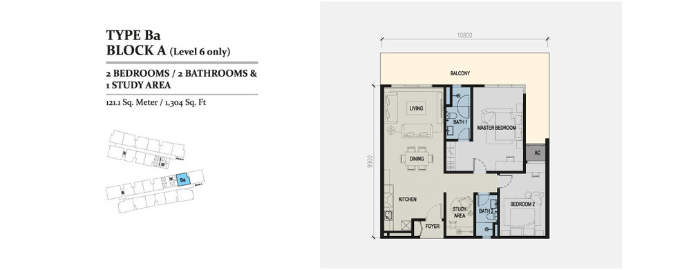 Skyz Jelutong Residences Type Ba Floor Plan