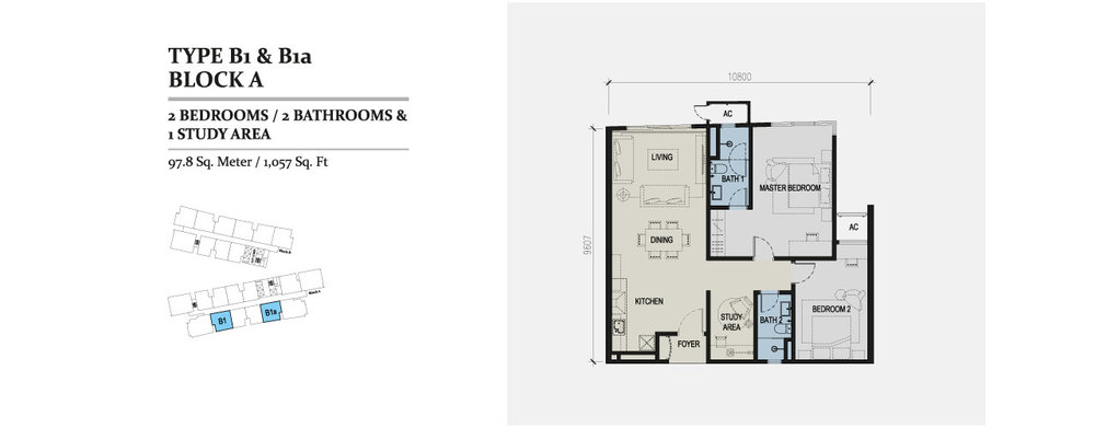 Skyz Jelutong Residences Type B1 & B1a Floor Plan