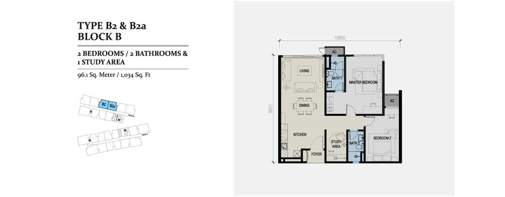 Skyz Jelutong Residences Type B2 & B2a Floor Plan