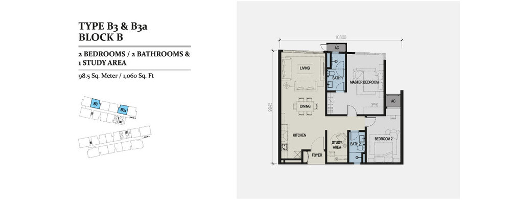 Skyz Jelutong Residences Type B3 & B3a Floor Plan