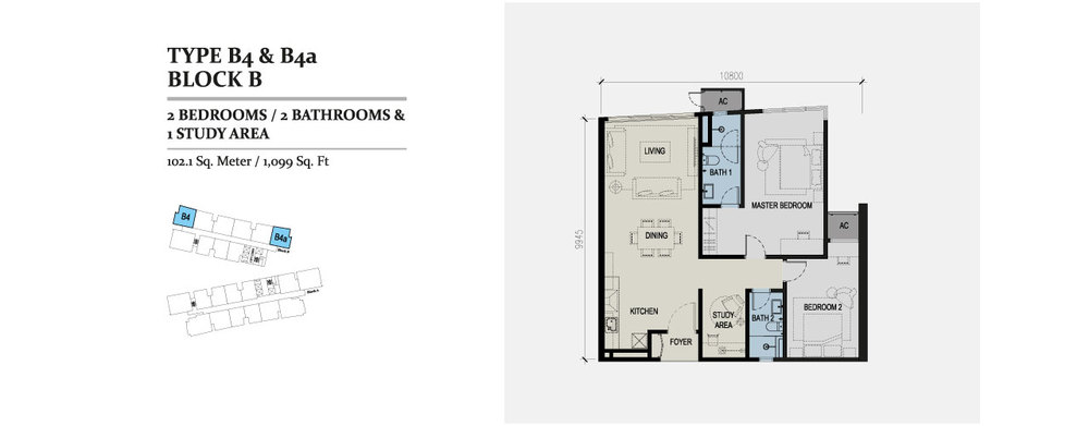 Skyz Jelutong Residences Type B4 & B4a Floor Plan