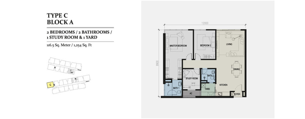 Skyz Jelutong Residences Type C Floor Plan