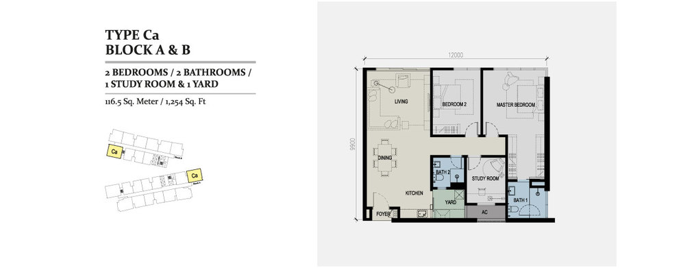 Skyz Jelutong Residences Type Ca Floor Plan