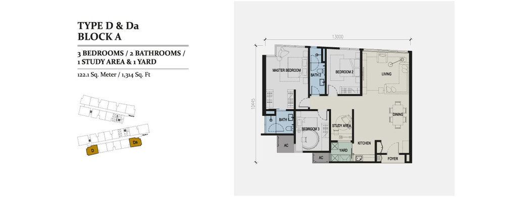 Skyz Jelutong Residences Type D & Da Floor Plan
