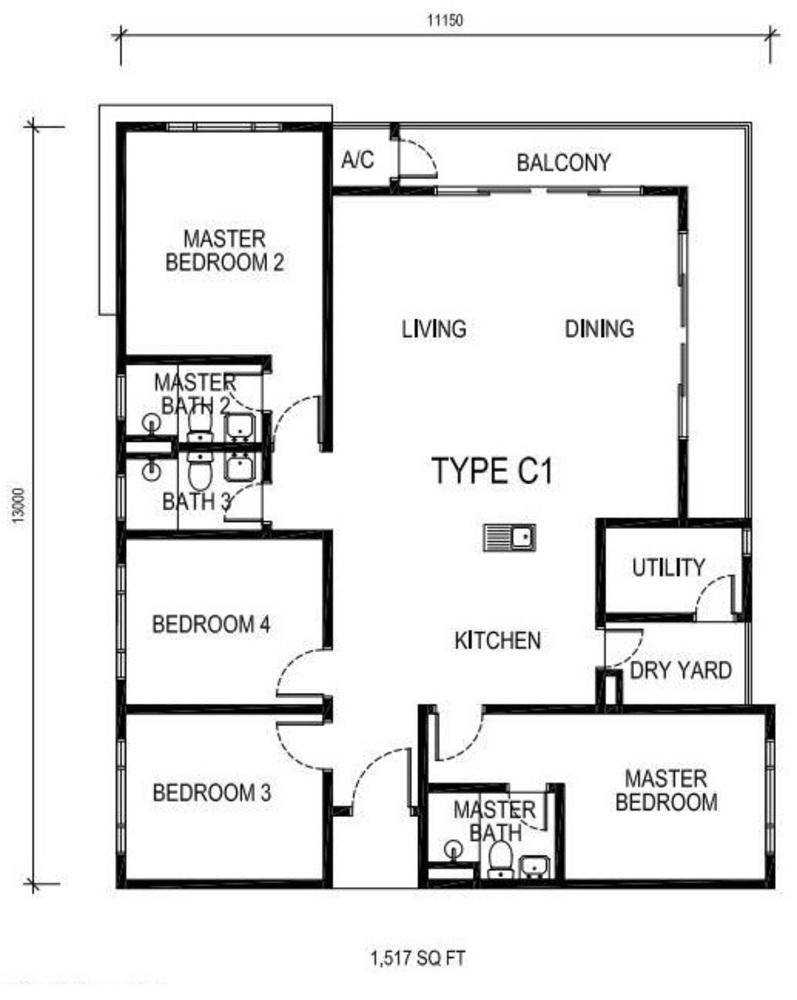 The Nest Type C1 Floor Plan