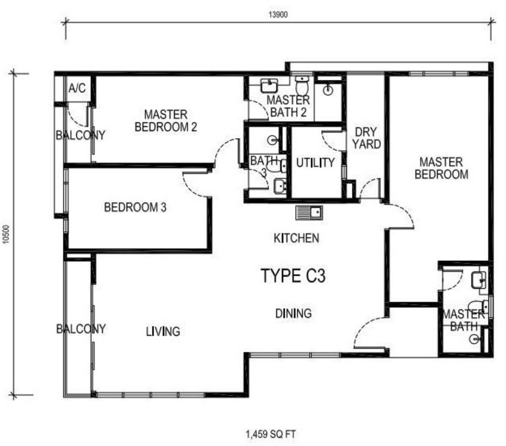 The Nest Type C3 Floor Plan
