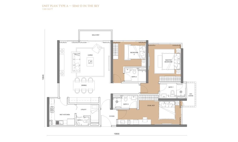 The Park Sky Residence @ Bukit Jalil City Type A Floor Plan